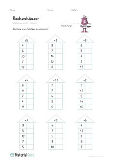 """NEW: A free math worksheet on """"computing houses"""" for the basic … - Bildung Math Division Worksheets, Math Addition Worksheets, 1st Grade Math Worksheets, Maths Puzzles, First Grade Math, Preschool Worksheets, Math Charts, Learning English For Kids, Montessori Math"""