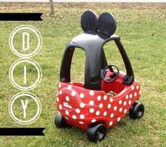 DIY - Minnie Mouse Bow-Bile little tykes car like a Minnie car :) Disney Ears, Baby Disney, Disney Mouse, Little Tykes Car, Minnie Mouse Car, Minnie Bow, Theme Mickey, Disney Crafts, Baby Fever