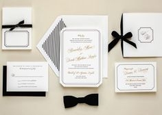 Black and White Stripe Stationary | Bold and Romantic Black and White Wedding Inspiration