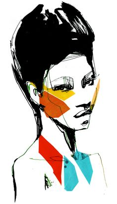 Fashion Illustration Ideas Cut paper illustrations by Stina Persson - Mixed-media work by Stina Persson. The Stockholm, Sweden based illustrator collages cut-paper on top of watercolor and inks. See more of Persson's work on her website. Art And Illustration, Fashion Illustration Face, Portrait Illustration, Illustrations, Fashion Sketchbook, Fashion Sketches, Stina Persson, Silhouette Mode, Collage Design