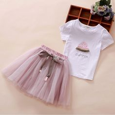 Children's Clothing Toddler Girls Sets Cartoon Printed Baby Girl Tops +Skirt Sets For Girls Kids Clothes Shirt Tutu Skirt Baby Girl Dress Patterns, Baby Dress, Girls Summer Outfits, Girl Outfits, Baby Girl Tops, Cute Girl Dresses, Tutus For Girls, Kendall, Kids Fashion