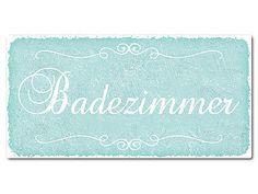 Vintage Schild mit Wunschtext 300 x 150 mm türkis - Hausnummern und Schilder online kaufen