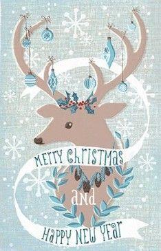 A beautiful christmas and new year card with a deer! Une jolie carte de Noël et de bonne année avec un cerf!