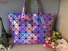 b90cc02b4e40 Kisumater 2017 Hologram bag Wome Diamond Geometry Lattice bag Tote women s handbags  baobao bag laser silver Super Quality -in Shoulder Bags from Luggage ...