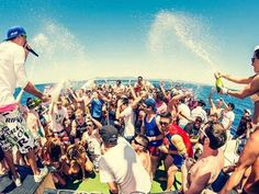 A boat party out in the sea in Magaluf, Mallorca.