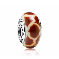 LY3803 Pandora Giraffe Print White & Brown Murano Glass Charm