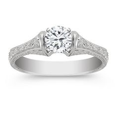 Vintage Cathedral Solitaire Engagement Ring