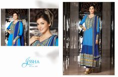Buy Bollywood Actress Esha Kopikar beautiful floor length anarkali in georgette fabric available in blue color in our website.