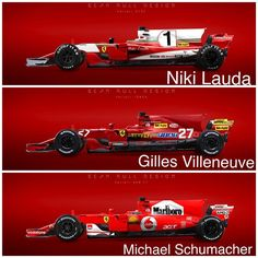 3 of the biggest Ferrari drivers' liveries on the 2017 chassis, which livery is your favourite? All credits goes to @seanbullliveries #f1 #formulaone #formula1 #motorsport #mclaren #ferrari #scuderiaferrari #schumacher #michaelschumacher #nikilauda #lauda #livery #artwork #racing #cars #car #photoshop #gillesvilleneuve