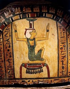 Egyptian civilization, Late Period, Dynasty XXV-XXVI. Cartonnage of the mummy of the priest of Montu, Nes-peka-shuty, detail with Isis, goddess of the resurrection of Osiris.