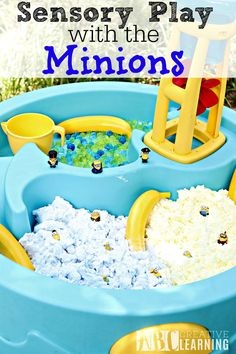 Sensory Play with the Minions activity is perfect for letting children explore through play and imagination! - abccreativelearning.com
