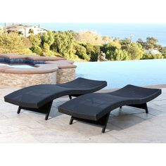Abbyson Living Brent Outdoor Wicker Adjustable Patio Chaise Lounge - Set of 2 - DL-RLC150-