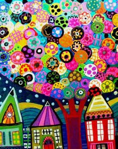 Very bright and bubbly art.  Would be great in a room with bright colours or as an accent piece.