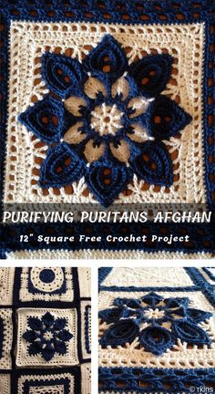 Purifying Puritans 12 Crochet Afghan Block New Afghan Square design to crochet without struggling through the complicated original instructions suitable for swaps and afghans with Free Pattern # Crochet Squares Afghan, Crochet Quilt, Granny Square Crochet Pattern, Crochet Blocks, Afghan Crochet Patterns, Crochet Motif, Diy Crochet, Crochet Crafts, Crochet Projects