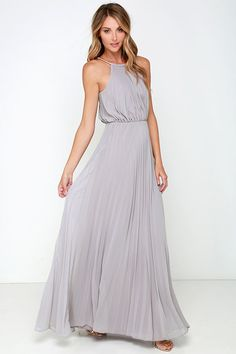 From the first dance to the last, everything will be an utter dream in the Bariano Melissa Light Grey Maxi Dress! A stretchy gold coil necklace (with adjustable lobster clasp closure) creates a sultry halter neckline supporting pleated light grey chiffon. Light Grey Bridesmaid Dresses, Grey Bridesmaids, Beach Dresses, Prom Dresses, Formal Dresses, Wedding Dresses, Dress Beach, Flowy Dresses, Casual Dresses