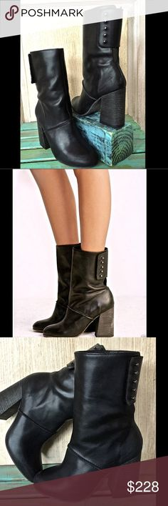 """Free People black leather Lovett Midi Boot 9/9.5 Free People black leather Lovett Midi Boot Perfect with everything, these mid-rise leather boots feature a rounded toe and exposed stitching.  Edgy pegs in back with an adjustable strap for an easy on/off. Stacked heel.  New In Box  *  Size:   40 / 9 -9.5 retail price:  $248.00              Leather  Made in Portugal              measures:               heel:  4""""                shaft:  8""""  Check out my other item! Be sure to add me to your…"""