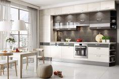 Kitchen cabinets in white - a bright and modern kitchen design! White Kitchen Cabinets, Kitchen Island, Kitchen Furniture, Kitchen Decor, Mosaic Del Sur, Modern Kitchen Design, Decoration, Table, Home Decor