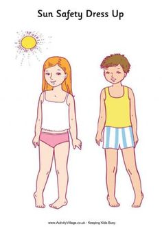 Sun Safety Paper Dolls Printable