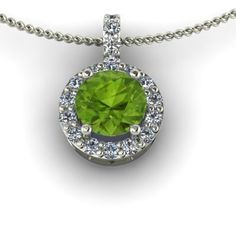 18K White Gold Halo Pendant 1/3ctw with Diamonds and Peridot. This halo pendant is set in the metal of your choice and features a round-cut gemstone diamond surrounded by pave set diamonds. The gemstones on the halo are only available as diamonds. This is because the other gemstones are available in this size. You can select white or black diamonds for the halo.  This pendant comes with a 18-inch cable chain made with the same metal as your pendant.
