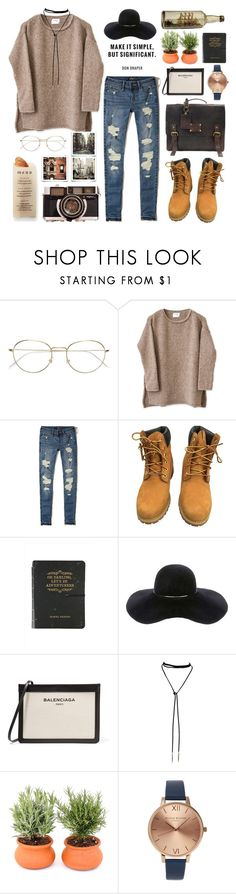 """Fall🍂: chunky sweater"" by beatrizmx3 ❤ liked on Polyvore featuring RetroSuperFuture, Hollister Co., Timberland, Eugenia Kim, Balenciaga, Olivia Burton, O My Bag and Martha Stewart"