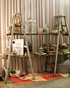12 formas rusticas de reciclar una vieja escalera de madera 6