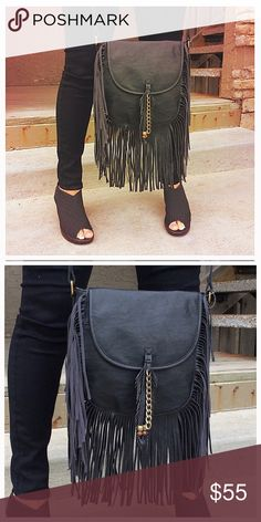 Black Fringe Crossbody NWT NWT ~ Faux Leather Steve Madden Bags Crossbody Bags