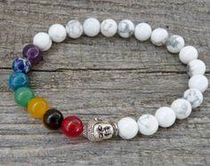 Pulsera hematita de Chakra pulseras de meditación por SJIJewelry