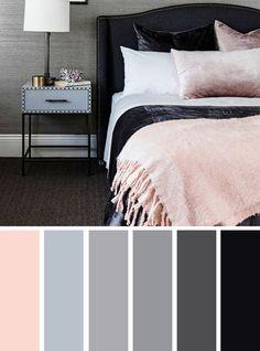 Project 28 - slaapkamer Ashley - The Best Color Schemes for Your Bedroom - blush grey and black bedroom color palette Black Color Palette, Bedroom Colour Palette, Bedroom Color Schemes, Bedroom Colors, Colour Palette 2018, Paint Schemes, Blush Bedroom, Gray Bedroom, Bedroom Decor