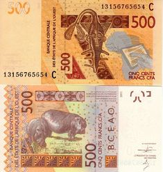 west african states 500 francs 2012 A for Ivory Coast. Map of Africa. wide security thread with printed UMOA & electrotype Printer: Francois-Charles Oberthur Fiduciaire. West African Countries, African States, Cfa, African Mythology, Money Notes, Africa Map, World Coins, Ivoire, Touch Tablet