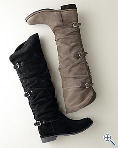 I want these boots! I love the ruching down the back. And the buckles. And how tall they are. Love!