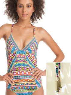 6233915576 Trina Turk Peruvian Stripe One Piece Swimsuit w Chain/Beads Tassels on Ties  Sz 6
