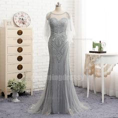 Long Silver Grey Scoop Beading Sparkly Elegant High Quality Prom Dresses d6cdd1eeb615