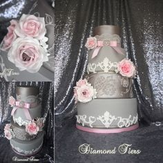 Grey and pink baroque wedding cake by Diamond Tiers
