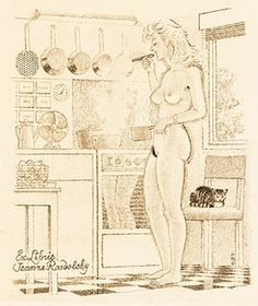 The kitchen by Mark Severin, 1979 This is one of two bookplates that the Belgian artist made for his fellow countrywoman Jeanne Radolsky, a passionate collector of ex libris.