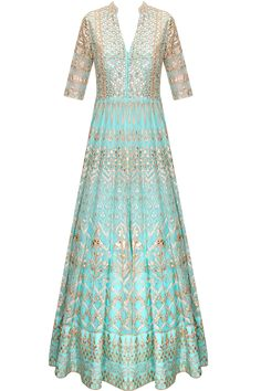 Powder blue gota patti embroidered anarkali set with matching lehenga by Anita Dongre.
