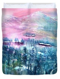 Fairy Forest with Swiss Stone Pines Duvet Cover by Sabina Von Arx Watercolor Paintings, Original Paintings, Forest Fairy, Season Colors, Basic Colors, Beautiful Artwork, Painting Techniques, Color Show, Colorful Backgrounds