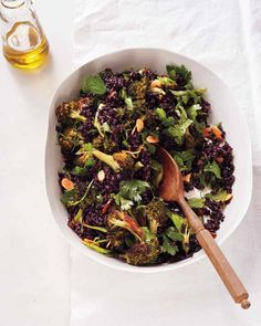 Black Rice and Broccoli with Almonds. Go haute and whole grain with this delicious salad: Roasted broccoli is even better when served with black rice and a roasted garlic vinaigrette. Garlic, roasted until meltingly soft, lends a creamy texture to this salad's vinaigrette.
