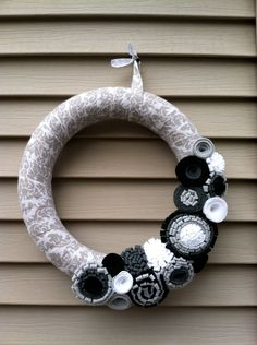 Spring Wreath - Patterned Fabric Decorated with Felt Flowers.  Spring Wreath - Felt Wreath - Fall Wreath  - Felt Flower Wreath. $42.00, via Etsy.