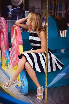 Teva Sandals   Striped dress #summerlooks #springlooks #tevasandals #openbackdress #funstyle