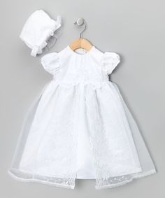 Look at this White Pearl Embroidered Dress & Bonnet on #zulily today!