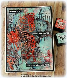 Kath's Blog......diary of the everyday life of a crafter: Fun With Alcohol Inks Card Making Inspiration, Making Ideas, Timmy Time, Tim Holtz Dies, Distressed Painting, Butterfly Cards, Fall Cards, Watercolor Cards, Journal Cards