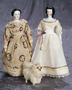 "9"" (23 cm.) Two 9"" German Porcelain Sculpted Hair Lady Dolls, with Salon Miniature Dog 400/700"