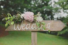 Wooden wedding sign and silk flower arrangement. £50,00, via Etsy.