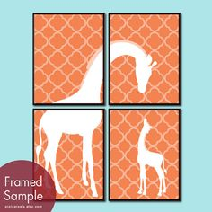 Momma and Baby Giraffe Series A Set of 4 11x14 by pixiepixels, $47.85
