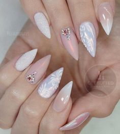 Almond shape of nails, pastel shades, beige color combined with white will make your hands look gentle and cultivated. It is very important, if you are doing a regular manicure and dry the gel under the UV lamp, to the take care of your hands. Be sure to pat your hands nourishing hand cream every day.