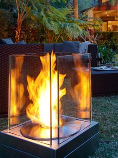 Mini-T Indoor/outdoor fireplace, I sooo want this for our patio Outdoor Pics, Outdoor Rooms, Outdoor Gardens, Outdoor Living, Outdoor Decor, Indoor Outdoor Fireplaces, Tabletop Fireplaces, Outdoor Range, Ethanol Fireplace