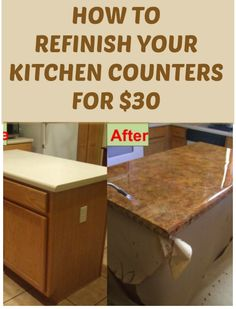 How To Refinish Your Kitchen Counter Tops For Only $30! ..........Tons more DIYs at DIYFUNIDEAS.COM