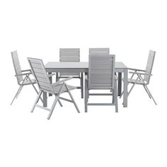 FALSTER Table + 6 reclining chairs, outdoor IKEA You can make your chair more comfortable and personal by adding a chair pad in a style you like. Ikea Outdoor, Outdoor Chairs, Outdoor Furniture Sets, Outdoor Decor, Chair Pads, Chair Cushions, Recliner, Patio, Terrace Ideas