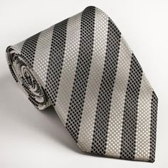 buy cheap  Platinum Ties Men's Striped 'Black & White' Tie,
