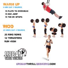 ring Rows,  thrusters,  Run 400m,  t2b, sit ups,  10 dips, Plate to Overhead, toes to bar, toes2bar